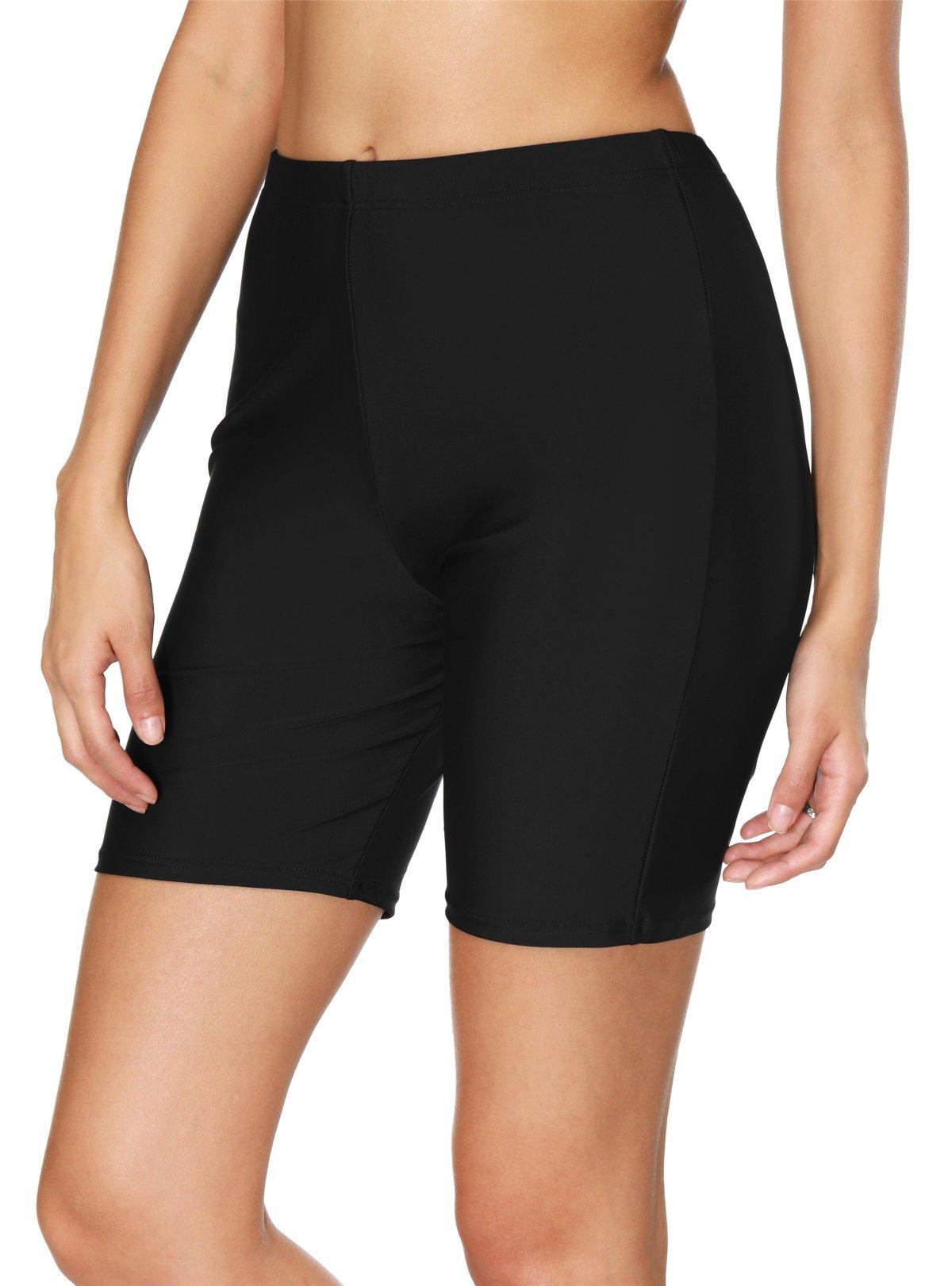BeautyIn Women's Stretch Board Shorts Solid Beach Shorts Sport Swimsuits Bottom,Black 1,14/Tag 2XL