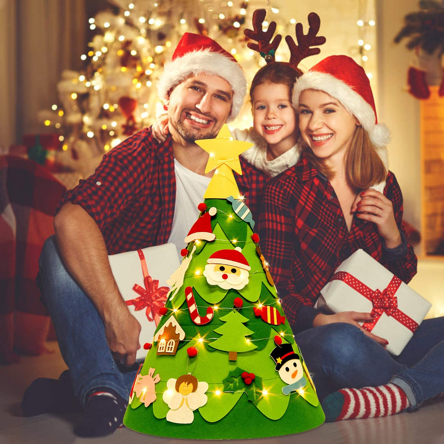 Outgeek 2.3Ft DIY Xmas Tree with 28PCS Detachable Ornaments and Light String Xmas Gifts for Kids Toddler Christmas Decoration 3D Felt Christmas Tree 3D Christmas Tree