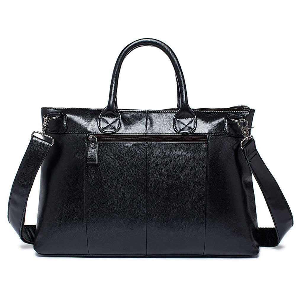WUSHIYU Mens Messenger Bag Mens Briefcase Leather Mens Bag Vintage Casual Tote Leather Shoulder Messenger Bag Suitable for Business Casual Satchel Shoulder Bag Color : Black
