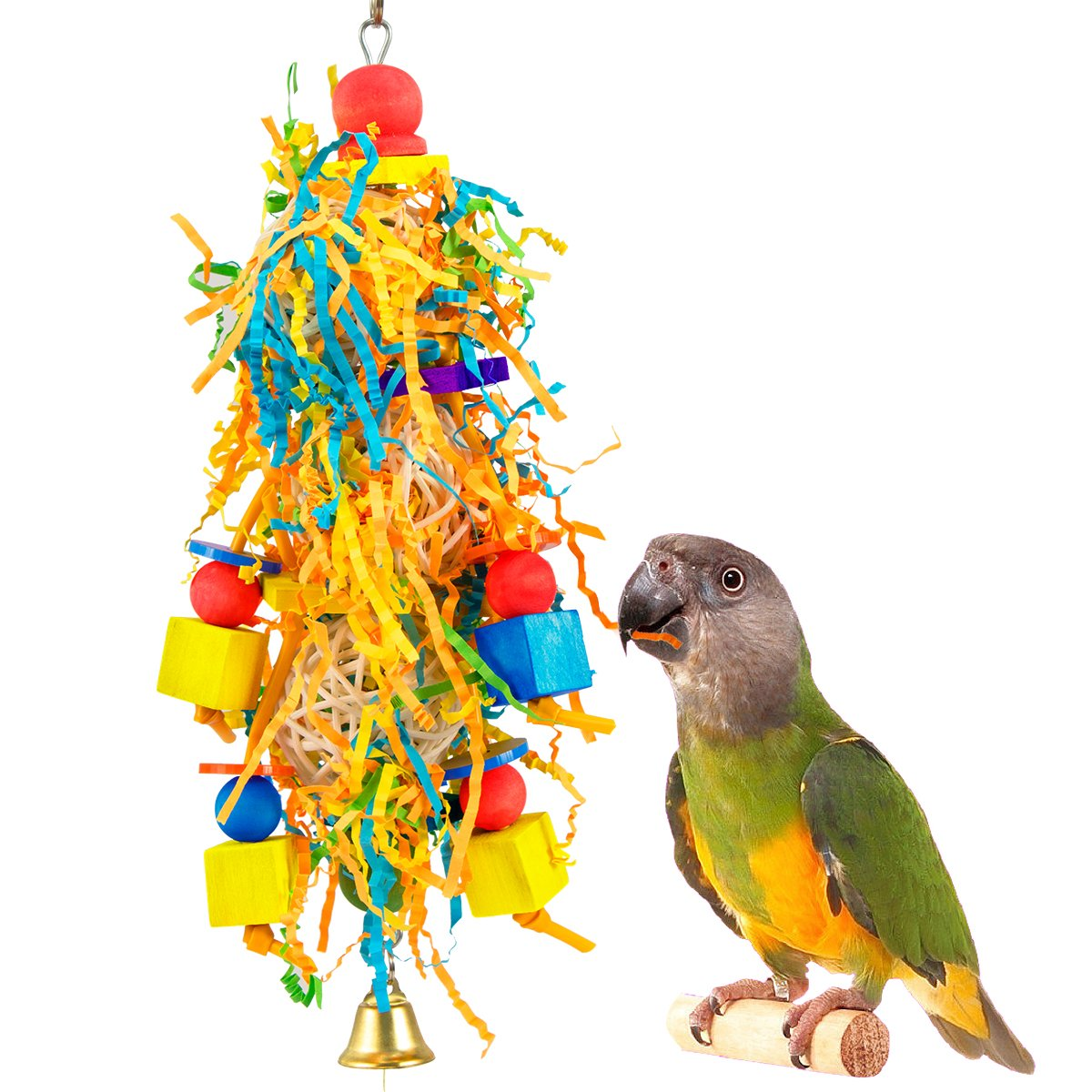 MEWTOGO Small Bird Shredder Toy - Handmade Conure Foraging Shredding Hanging Toy for Small Medium Parrots