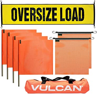 Includes 1 Basic Stretch Cord Oversize Load Banner Flags and Magnets Kit VULCAN Banner and a High-Viz Vented Storage Bag 4 Red Flags 4 Magnets