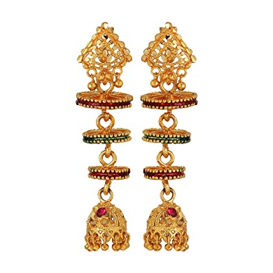 825f007e5 Image Unavailable. Image not available for. Color: GoldNera Chakra Design  Alloy Jhumki/Jhumka Earring Bollywood style