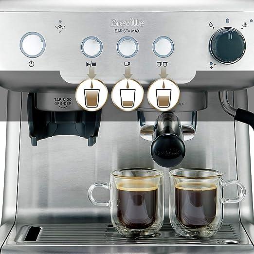 Breville Barista Max VCF126X - Máquina de café expreso, totalmente automática con molinillo integrado y bomba italiana de 15 bares