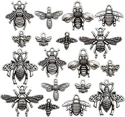 2 Large Bee Pendants Bumblebee Antiqued Silver Bronze Charms Set Insect Mixed