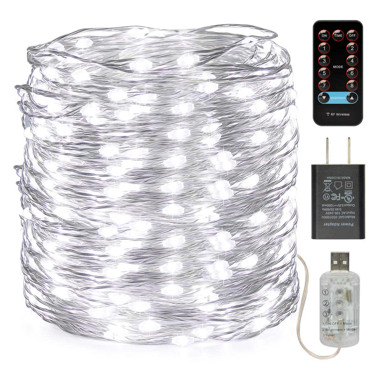 buways 66ft 200LEDs Fairy Lights - USB Plug-in Twinkle String Lights 8 Modes with RF Remote Control Halloween Christmas Party Weeding Garden Home Decoration (1, Silver Cool White-66ft)