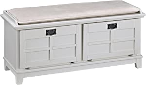 Arts & Crafts White Upholstered Bench by Home Styles