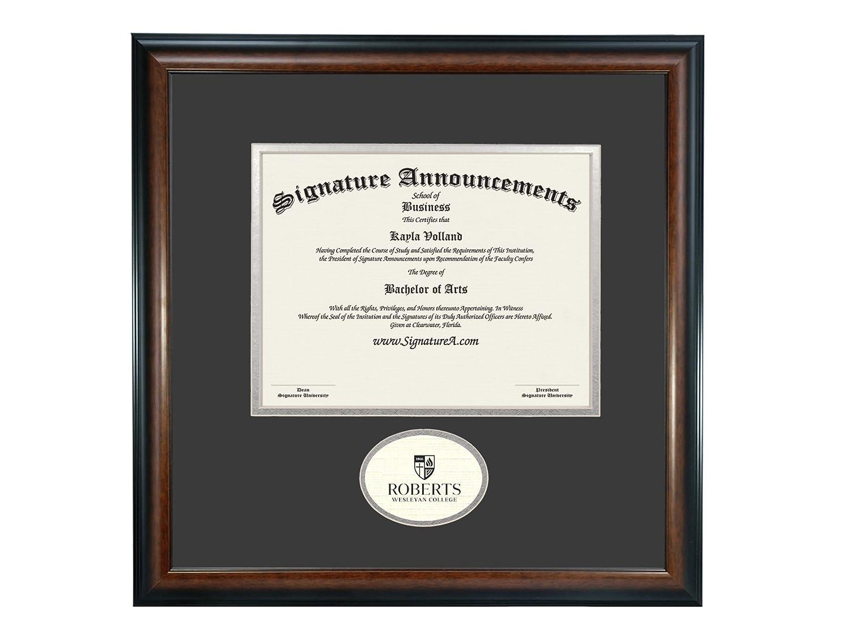 16 x 16 Signature Announcements Roberts-Wesleyan-College Undergraduate Sculpted Foil Seal Graduation Diploma Frame Matte Mahogany