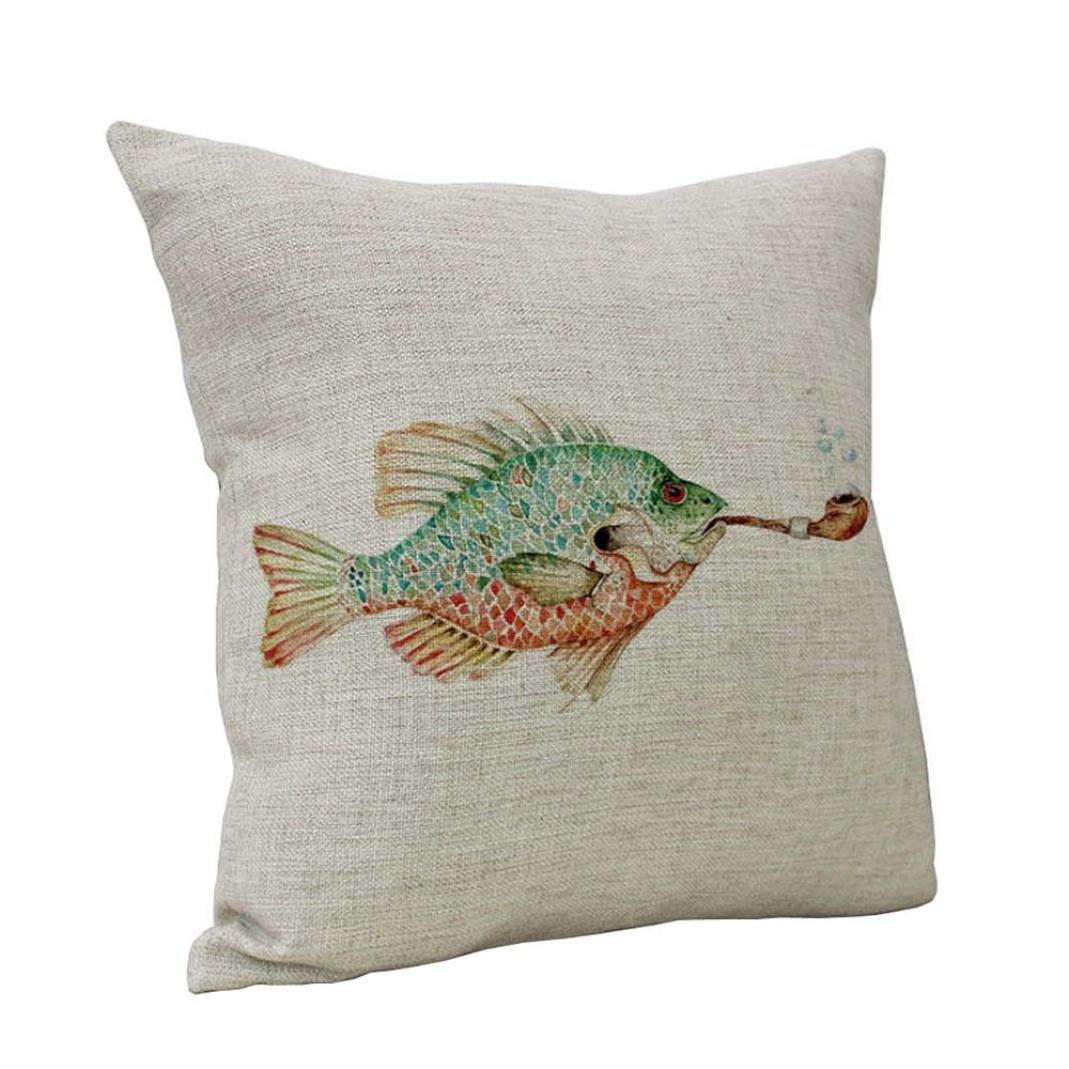 Home Sofa Decor Cushion Cover, UBabamama Fish Vintage Throw Pillow Case Sea Style Cute Pillowcase Square Pillowslip (A)