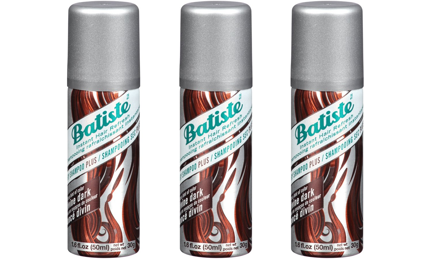 Batiste Dry Shampoo Divine Dark Mini Travel Size 1.6 oz (Pack of 3) by Batiste