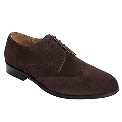 Handmade Real Suede Leather (Wingtip) Brogue Shoes (Lace Ups) For Men In Brown Colour