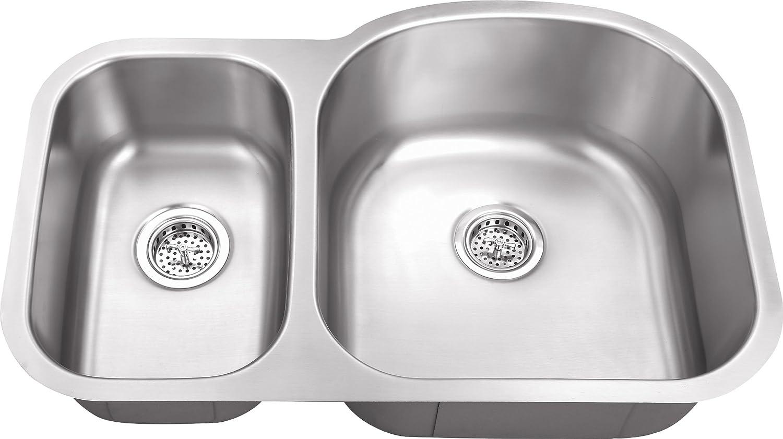803LUXRV 31 x20 x9 30 70 Offset 16 Gauge Double Bowl Kitchen Sink Stainless Steel