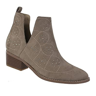 Womens Ankle High Suede Slip On Studded Chunky Heel Spring Open Side Booties Paladino-103 Shoe