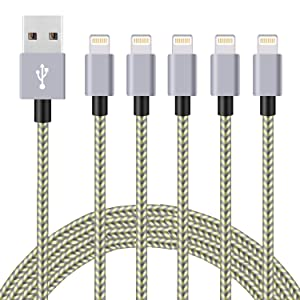 5pack,(3ft,3ft,6ft,6ft,10ft),MFi Certified iPhone Charger Lightning Cable High Speed Nylon Braided USB Fast Charging&Data Syncs Cord Compatible iPhone 11 Pro Xs MAX XR 8 8 Plus 7 7 Plus 6s