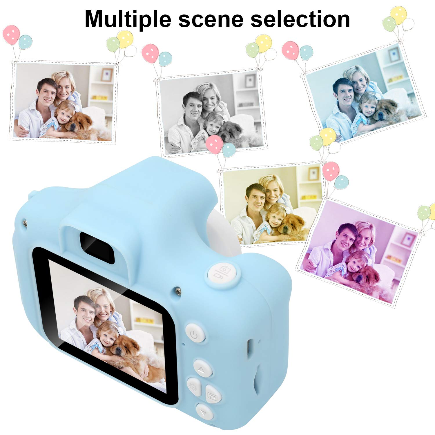 DDGG Kids Digital Camera Toy Camera HD Kids Video Cameras Shockproof Cameras with Soft Silicone Shell Gift for 4-10 Years Old Girls Boys Party Outdoor Play (16G SD Card Included) by DDGG (Image #5)