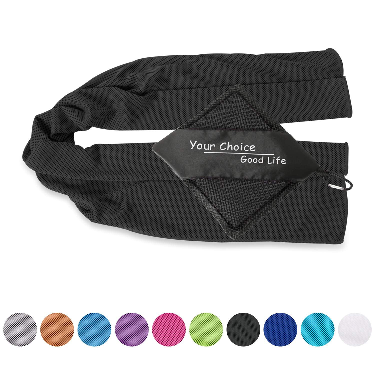 Your Choice Cool Towel - Cooling Golf Towel for Instant Relief, Cooling Neck Wrap Snap Cooling Towel for Gym Sports Yoga and Running, Ice for Men, Black 12 x 40 Inch