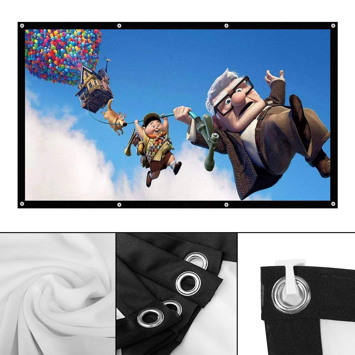 Projector Screen, 120 inch Portable Projection Screen 16:9 HD Foldable Anti-Crease Projector Movie Screen for Home Theater Indoor Outdoor, Rear & Front Projection Screen