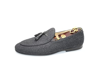 3926ddaf8e6c8 Amazon.com | SMYTHE & DIGBY Men's Belgian Slippers Gray Flannel ...