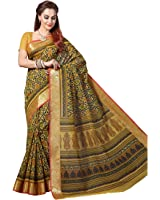 Rani Saahiba Women's Poly Cotton Saree (Skr1665_Yellow)