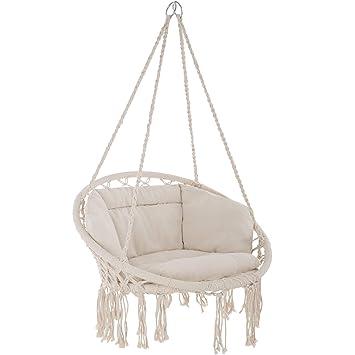 tectake 800708 Fauteuil Suspendu Relax Design de Jardin en Coton, 1 Place,  Intérieur et extérieur, Coussins Confortables Inclus - Couleur au Choix -  ...