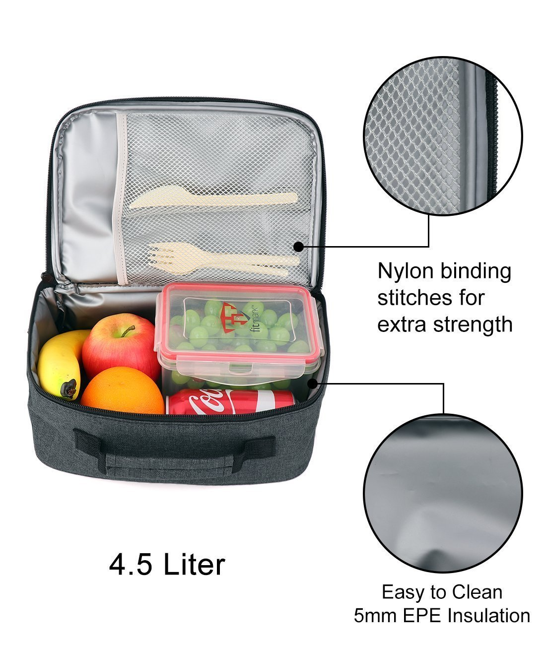 F40C4TMP Lunch Bag Cooler Tote Insulated for Women Men Adults 2 Compartment Meal  Prep Bento Bag ec2afe3ce5e8e