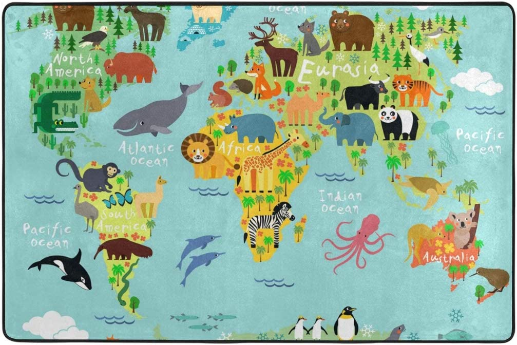 Vantaso Soft Foam Area Rugs World Map Animals Non Slip for Kids Playing Room Living Room 72x48 inch