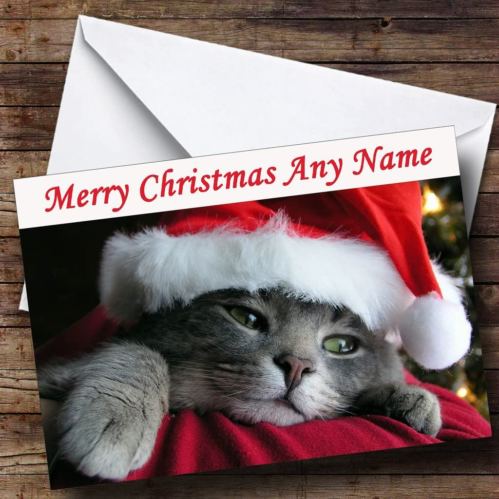From Or To The Grey Cat Christmas Customised Card