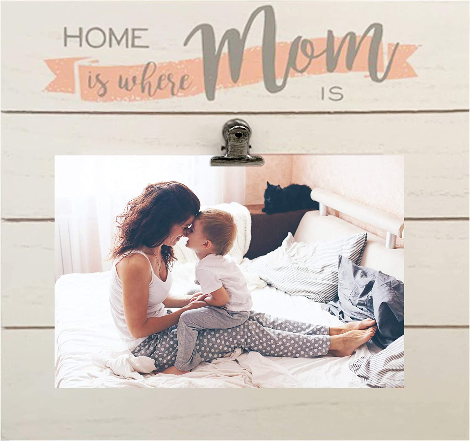 PRINZ Mother's Day Home is Where Mom is White Shiplap Clip Frame