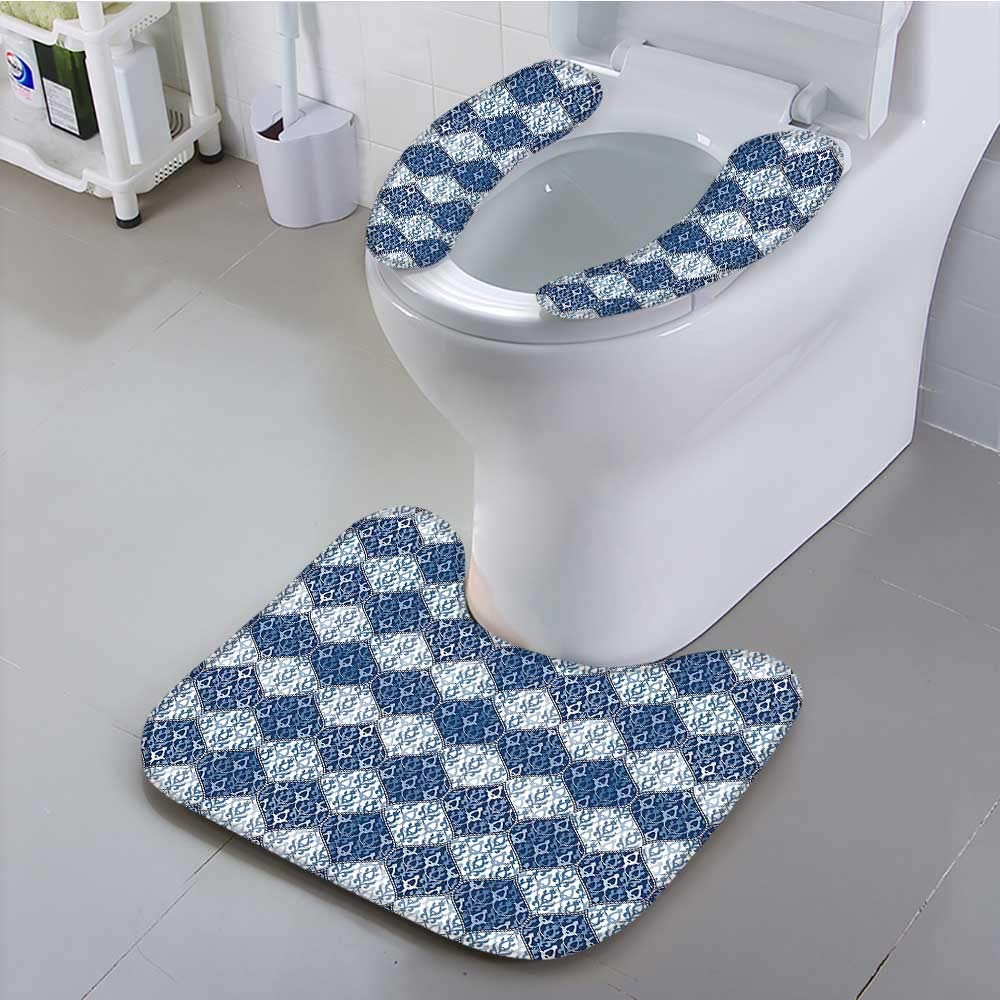 aolankaili Universal Toilet seat Decor Oriental Pattern Patchwork Horizontal Decorative Design Dark Blue Light Blue and White Cushion Non-Slip