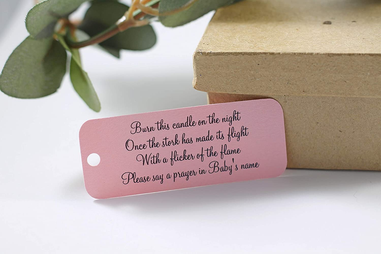 Amazon Com Light Pink Baby Shower Favor Tags Candle Gift Tags