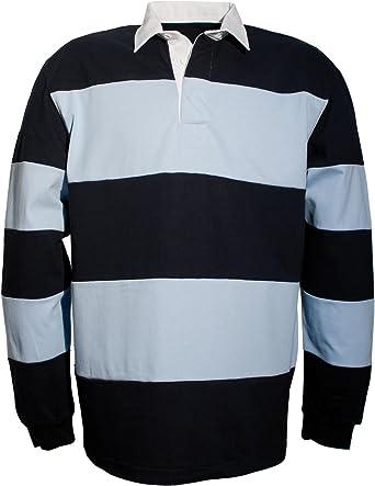 SOUL REBEL Polo de rugby-280 g/m² Navy/Sky Blue XX-Large: Amazon ...