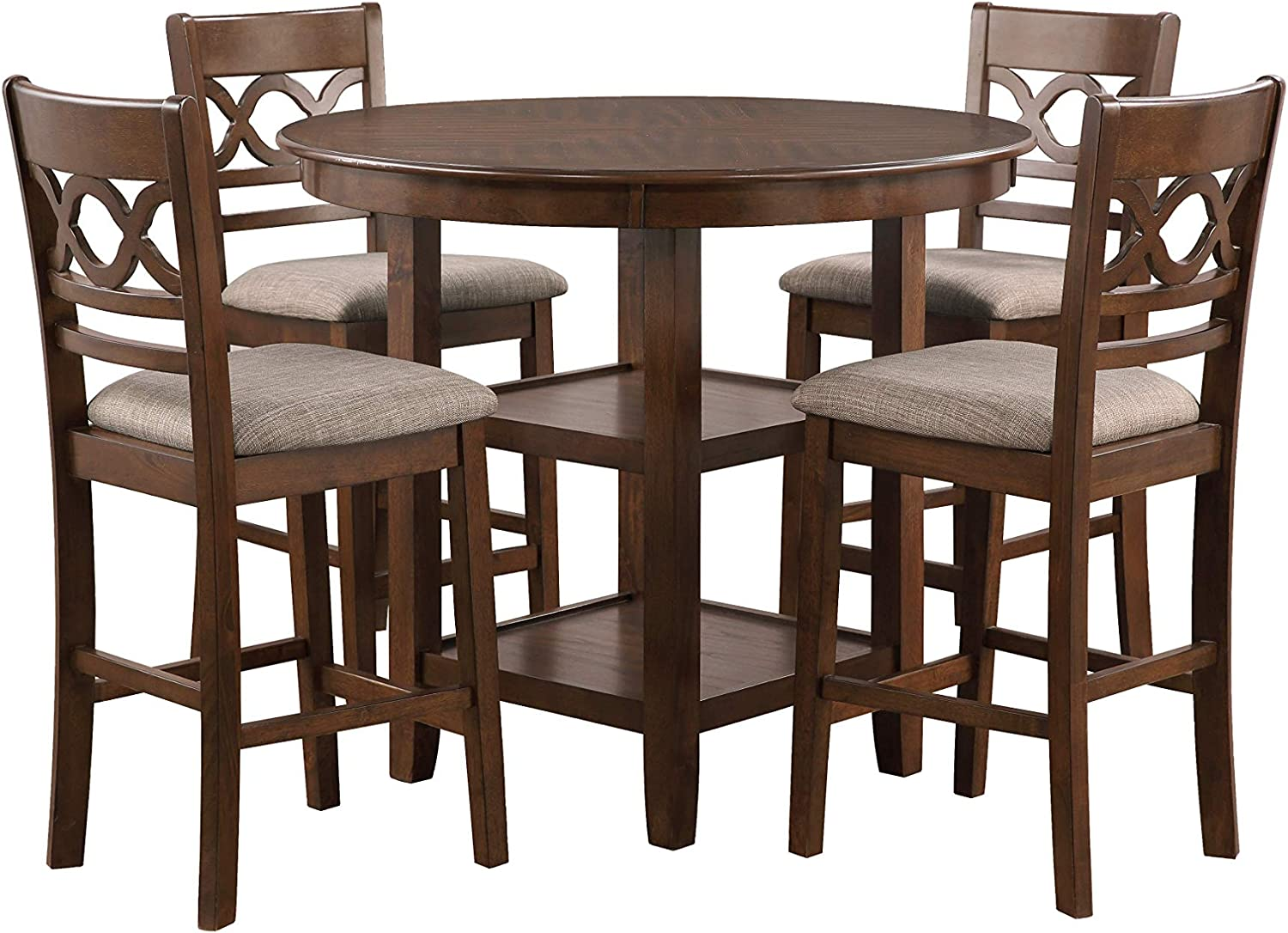 New Classic Furniture Cori 5-Piece Counter Dining Table Set, Cherry