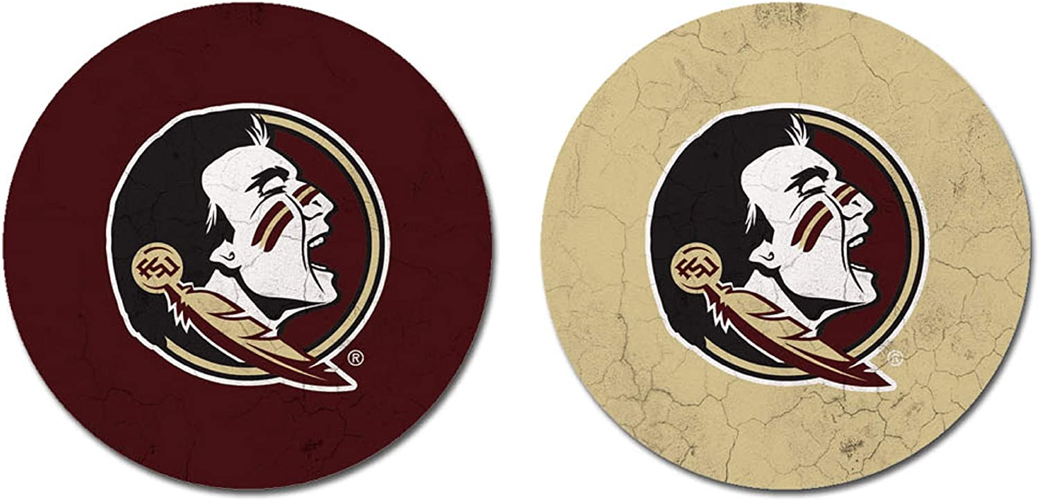 One Size Sandstone NCAA Legacy Florida State Seminoles Thirsty Car Coaster 2-Pack