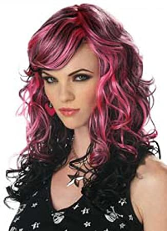 Wigs women long pink black Carnival Carnival Halloween ...