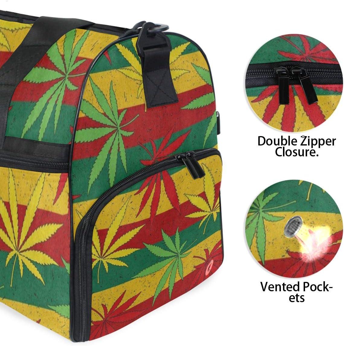 Gym Bag Blue Yellow Green Stripe Marijuana Leaf Duffle Bag Large Sport Travel Bags for Men Women