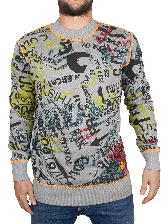 Vivienne Westwood Herren Zeitung Müll All Over Print Sweatshirt, Grau