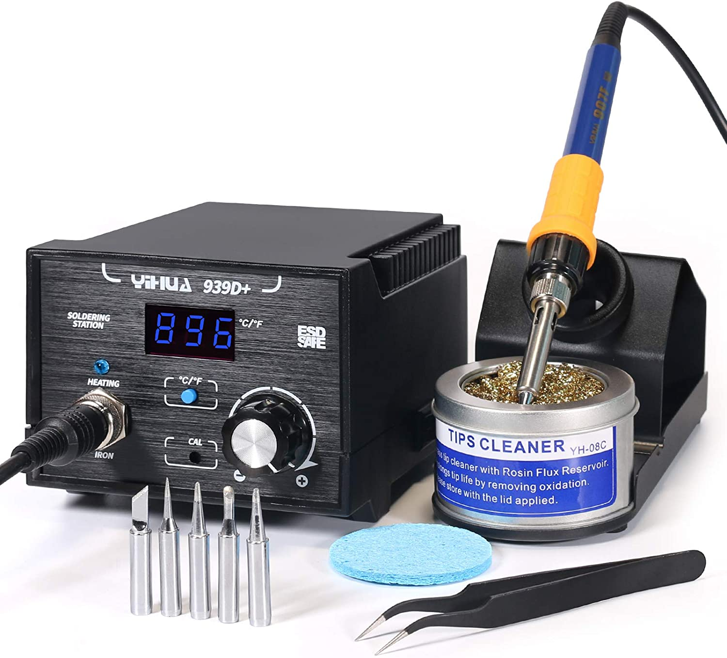 Yihua 939D+ Digital Soldering Station, 75W Equivalent with Precision Temp Control ( 392°F to 896°F) and Built-in Transformer.ESD Safe, Lead Free with °F /°C display. Includes 5 Solder Tips& 3+ Extras