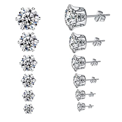 Yan & Lei Assorted CZ Rhinestone Ear Studs Set of 5 Pairs for Women Weekly Earrings TVmeO