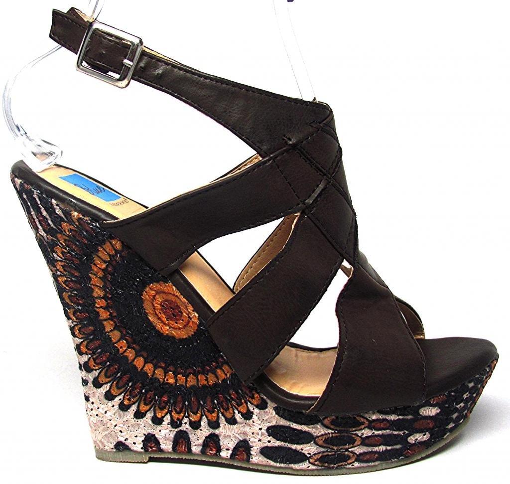 Wilder Platform Wedge Sandals Side Printed Lace Brown Tan Size 6 - 11 B00HPZT4SC 8 B(M) US|Brown