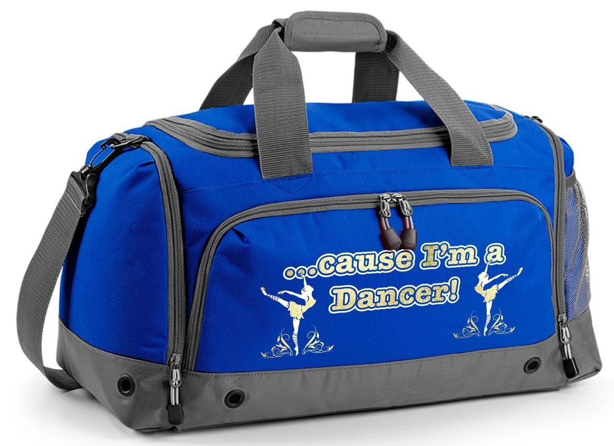 MusicaliTee Ballet Dancer Personalised Custom Dance HOLDALL Gym Bag in 7 Great Colours Dancing Girl Flowers