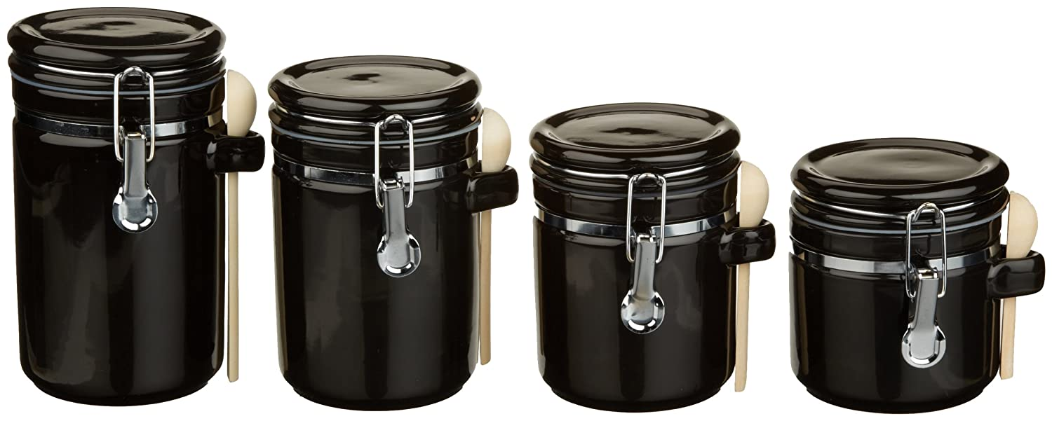 amazon com anchor hocking 4 piece ceramic canister set with clamp amazon com anchor hocking 4 piece ceramic canister set with clamp top lid and wooden spoon white kitchen dining