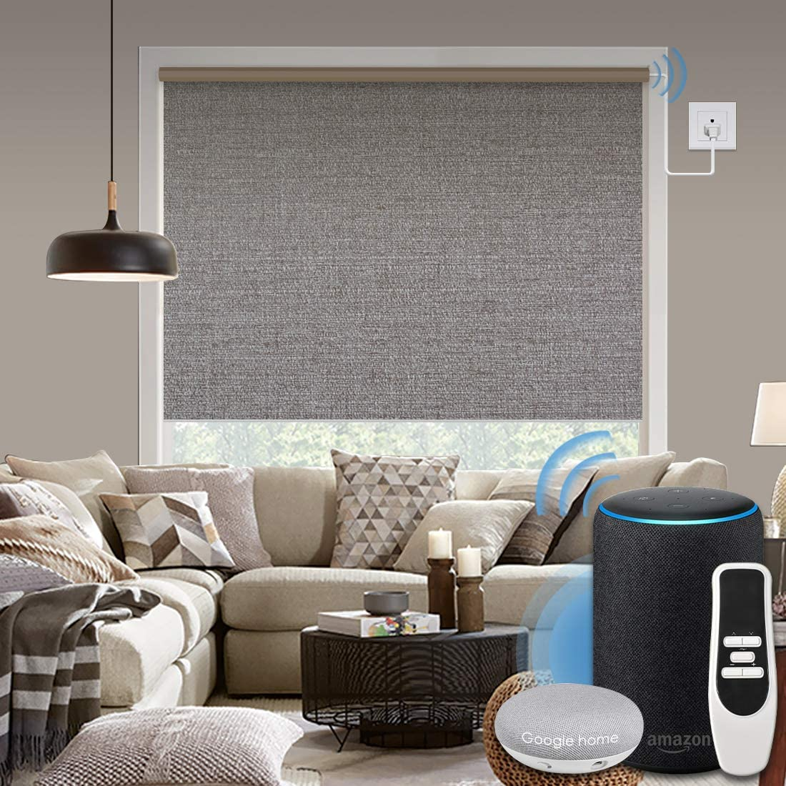 Graywind Motorized 100% Blackout Roller Shade with Alexa Google Smart Home Control Build-in Hardwired Window Shades Thermal Insulated Window Blinds, Customized Size (Grey Brown)