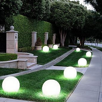 5x LED Solar Kugel Leuchten Garten Weg Außen Beleuchtung Erdspieß Steck Lampen