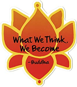 Coconut Creations What We Think, We Become - Buddha - with Lotus Flower - Spiritual Small Bumper Sticker or Laptop Decal (3.5