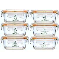 Sage Spoonfuls Contenedores de almacenamiento de alimentos para bebés, de vidrio resistente, Set de almacenamiento de alimentos para bebés Tough Glass Tubs