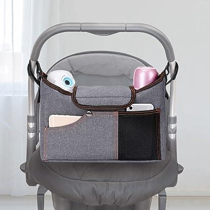 Gray Pram Buggy Buddy Storage Bag with Mobile Phone Holder Stroller Organiser