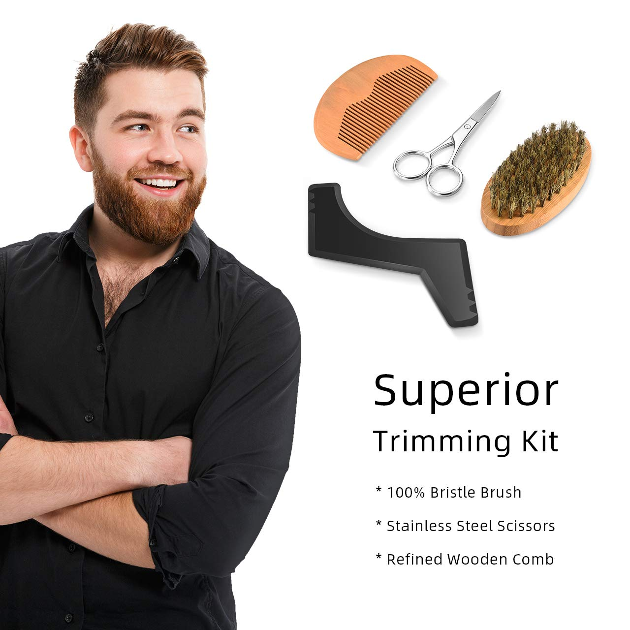 ATMOKO Beard Kit, 9 in 1 Beard Grooming Kit for Men Beard Care with Beard Shampoo, Oil,Conditioner, Comb, Brush, Scissor, Apron, Shaping Tool and Storage Bag, Good Gift for Husband,Boyfriend and Dad