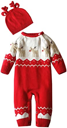 Baby Sweaters 6 Months ZOEREA Baby Infant Romper Sweater Christmas Knitted Clothes Match Antlers Hat