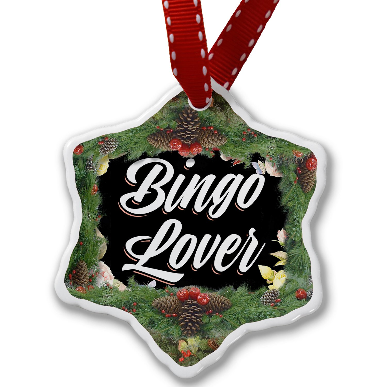 Christmas Ornament Floral Border Bingo Lover - Neonblond