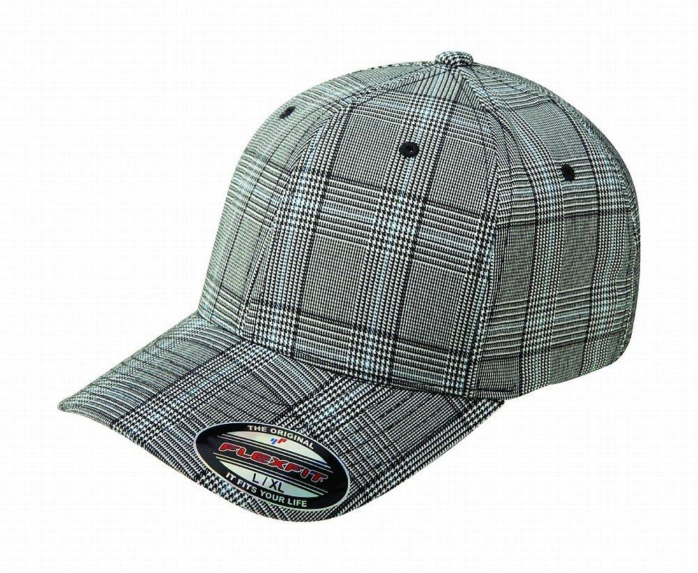 Flexfit Original Glen Check Plaid Hat Baseball Blank Cap Fitted Flex Fit 6196 Small/Medium - Black/White