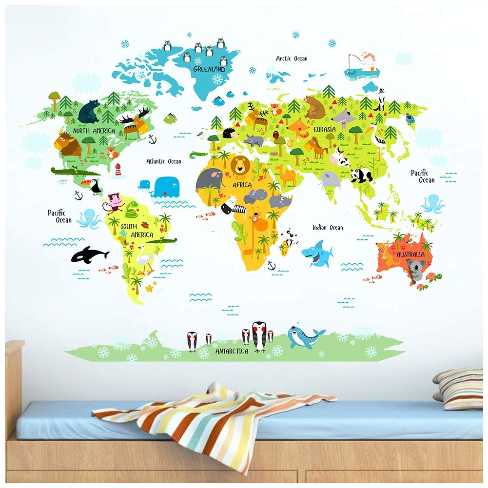 Australia Map Landmarks.Haokhome W 10501 Large World Map Stickers For Kids Educational Animal Landmarks Peel Stick Wall Decals Home Decor Art For Nursery